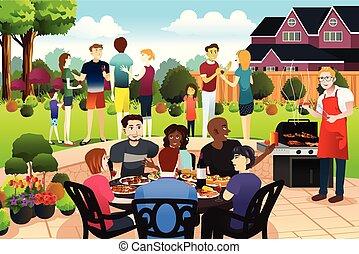 rodzina, razem, zbierać, posiadanie, lato, przyjaciele, bbq partia