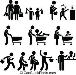 rodzina shopping, sprzedaż, klient, ludzie