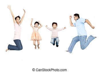 rodzina, skokowy, asian, razem, szczęśliwy