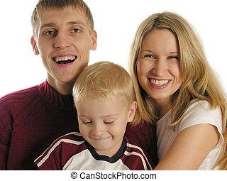 rodzina, trzy, odizolowany