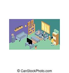 rodzina, wewnętrzny, pokój, żyjący, działalność, dom, isometric