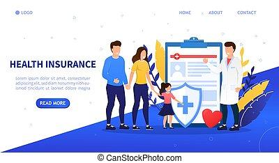 rodzinne zdrowie, oblezieni, młody, kupować, insure., plan., medyczny, szczęśliwy, litery, protection., profesjonalny, consultation., ubezpieczenie, concept., ilustracja, płaski, pociągający