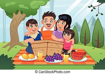 rodzinny piknik, posiadanie, razem
