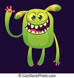 rogaty, ilustracja, halloween, potwór, wektor, zabawny, śmiejąc.