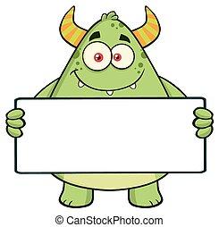 rogaty, litera, potwór, zielony