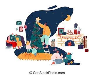 rok, boże narodzenie, rodzina, wesoły, kominek, rodzice, komplet, xmas daruje, pora, dekorowanie, scenes., kolędy, śpiewać, dzieci, ilustracja, nowy, wektor, zima, uszczelka, drzewo, celebrowanie