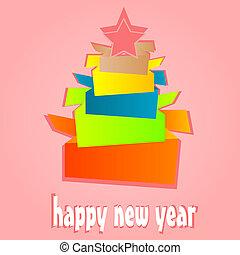 rok, drzewo., nowy, origami, święto, kartka na boże narodzenie