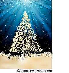 rok, eps, drzewo., szablon, nowy, 8, boże narodzenie