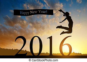 rok, nowy, dziewczyna, kroki, 2016