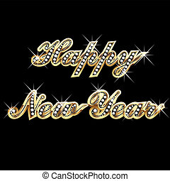 rok, szczęśliwy, złoty, bling, nowy