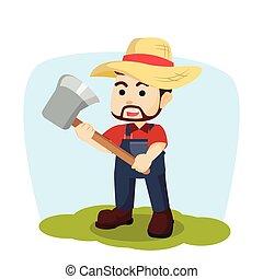 rolnik, dzierżawa, ilustracja, siekiera