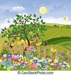 rolny krajobraz, drzewa owocu, płot