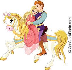 romantyczna para, biały koń