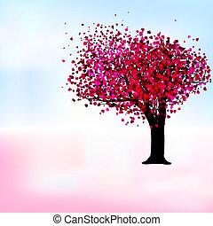 romantyk, eps, drzewo, namiętność, szablon, 8, card.