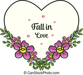 romantyk kochają, ułożyć, upadek, tło., wektor, zaproszenie, kwiatowy, karta