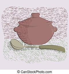 rondel, gorący, ilustracja, .vector, zastawa stołowa, srebro