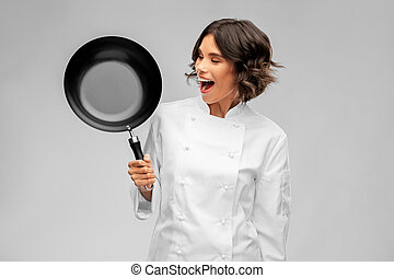 rondel, tok, samica, uśmiechanie się, mistrz kucharski, smażenie