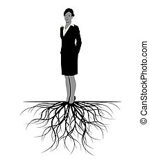 roots., kobieta, wektor, illustration.