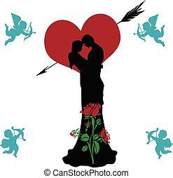 (rose, list miłosny, heart), anioły, collage, para, przelotny, dzień, tło, beautifully, sylwetka, ozdobny, biały, kochający