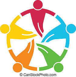 round., grupa, ludzie, 5, v, teamwork