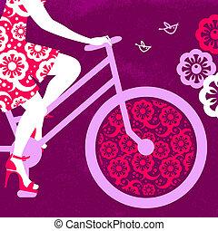 rower, dziewczyna, sylwetka, piękny