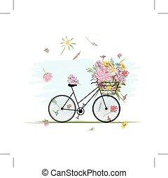 rower, kwiatowy zamiar, samica, kosz, twój