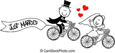 rowery, zabawny, szambelan królewski, panna młoda