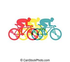 rowerzysta, afisz, rower, ilustracja, wektor, jeżdżenie
