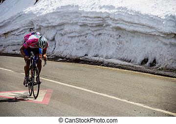 rowerzysta, kolarstwo, do góry, droga