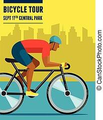 rowerzysta, komplet, afisz, rower, infographics, wektor, jeżdżenie, ikona
