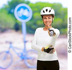 rowerzysta, pokaz, kobieta, kciuk do góry