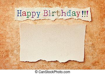 rozerwał, grunge, ostrza, urodziny, tło., papier karta, szczęśliwy