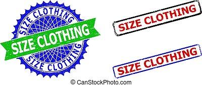 rozeta, odzież, bicolor, nieczysty, rozmiar, symbole, zewnętrzne strony, prostokąt