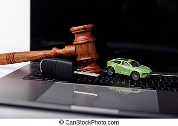 rozkaz, drewniany, sędzia, licytacja, pojęcie, wóz., klucz, gavel