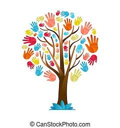 rozmaitość, barwny, drzewo, ręka, kulturalny, drużyna