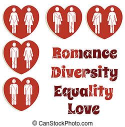 rozmaitość, miłość, komplet, równość, grafika