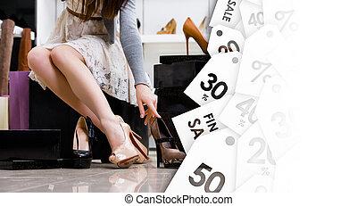 rozmaitość, shoes., piątek, sprzedaż, czarna samica, nogi