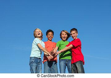 rozmaity, dzieciaki, grupa, wiek dojrzewania, albo