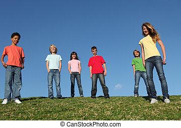 rozmaity, grupa, dzieciaki