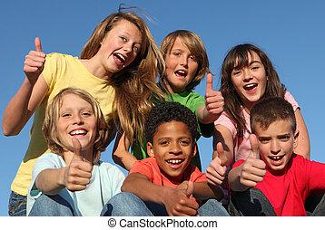 rozmaity, grupa, prąd, dzieciaki