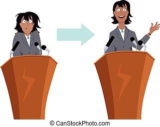 rozmawianie, publiczność, trening