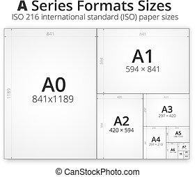 rozmiar, papier, listki, format
