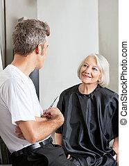 rozmowa, kobieta, posiadanie, fryzjer