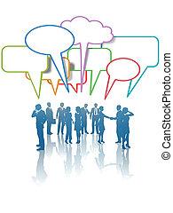 rozmowa, ludzie handlowe, sieć, komunikacja, media, kolor