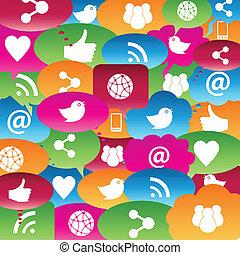 rozmowa, sieć, towarzyski, bańki