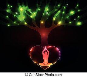 rozmyślać, kobieta, drzewo, barwny, pod