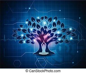 rozmyślanie, drzewo, tło, pod