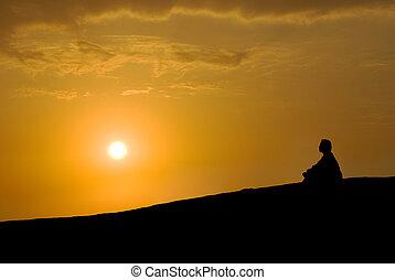 rozmyślanie, zachód słońca, pod