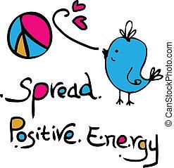 rozpostarty, dodatni, energia