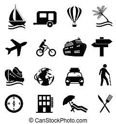 rozrywka, komplet, podróż, ikona, wolny czas